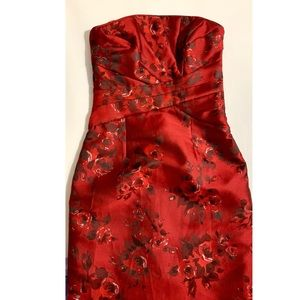 White House Black Market Corset Red Floral Dress